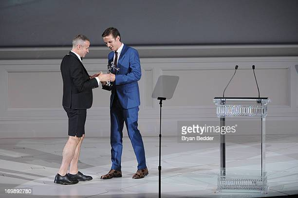 Designer Thom Browne and Actor Dan Stevens attend the 2013 CFDA FASHION AWARDS Underwritten By Swarovski Show at Lincoln Center on June 3 2013 in New...