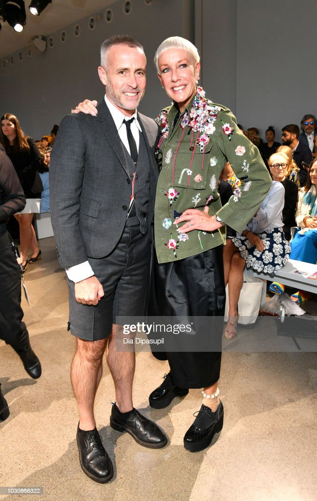 Designer Thom Browne (L) and CND Co-Founder and Style Director Jan Arnold attend the Libertine front row during New York Fashion Week: The Shows at Gallery II at Spring Studios on September 10, 2018 in New York City.