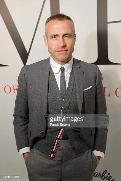 """Designer Thom Browne attends a private tour hosted by Depesha Magazine of """"IMPACT: 50 Years of the CFDA"""" at the The Fashion Institute of Technology..."""