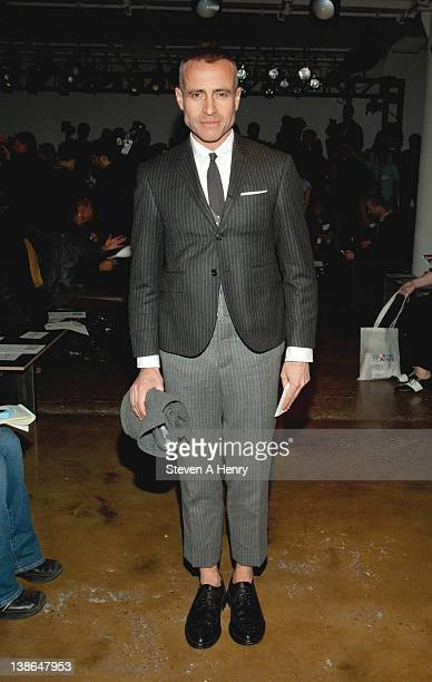 Designer Thom Browne attends the Libertine Fall 2012 fashion show during Mercedes-Benz Fashion Week at the Milk Studios on February 9, 2012 in New...