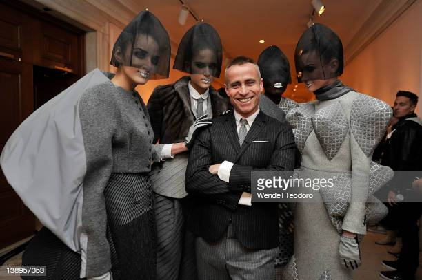 Designer Thom Browne backstage with his models before the Thom Browne Fall 2012 presentation during MercedesBenz Fashion Week at on February 13 2012...