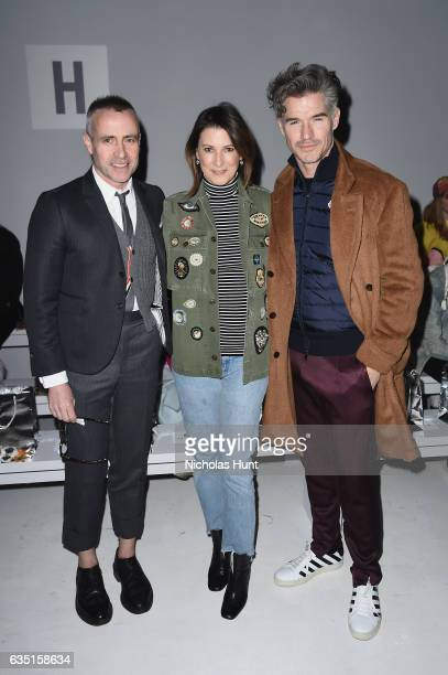 Designer Thom Browne Lizzie Tisch and actor Eric Rutherford attend the Libertine collection during New York Fashion Week The Shows at Gallery 3...