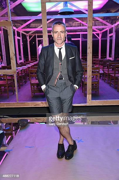 Designer Thom Browne poses at the Thom Browne fashion show during Spring 2016 New York Fashion Week at Skylight Modern on September 14 2015 in New...