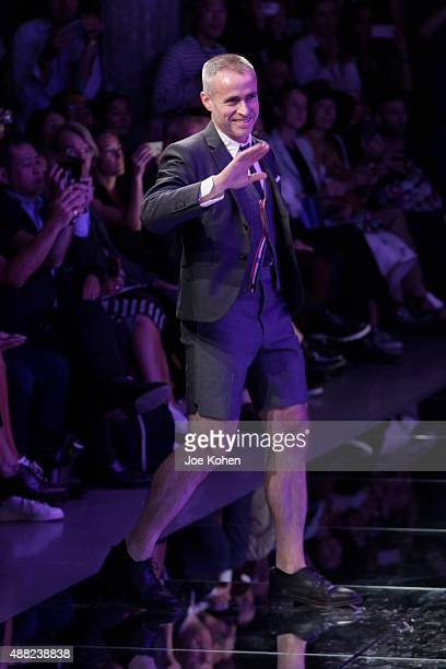 Designer Thom Browne walks the runway at the Thom Browne Spring 2016 fashion show during New York Fashion Week at Skylight Modern on September 14...