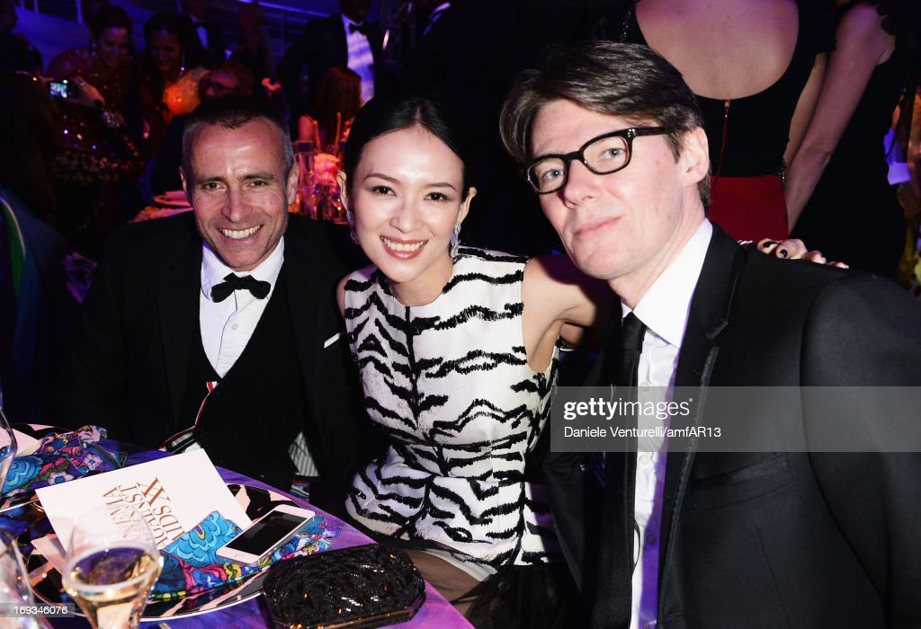 (L-R) Designer Thom Browne, Zhang Ziyi and curator at the Metropolitan Museum of Art Costume Institute Andrew Bolton attends amfAR's 20th Annual Cinema Against AIDS during The 66th Annual Cannes Film Festival at Hotel du Cap-Eden-Roc on May 23, 2013 in Cap d'Antibes, France.