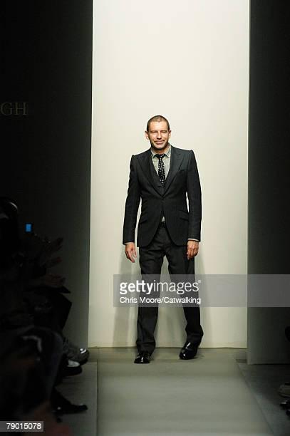 Designer, Thomas Maier walks the runway during the Bottega Veneta Menswear Fashion Show part of Milan Fashion Week Autumn/Winter 2008/09 on January...