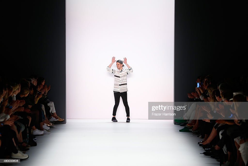 Designer Timm Suessbrich walks the runway after the Barre Noire presented by Mastercard show during the Mercedes-Benz Fashion Week Berlin Spring/Summer 2016 at Brandenburg Gate on July 9, 2015 in Berlin, Germany.