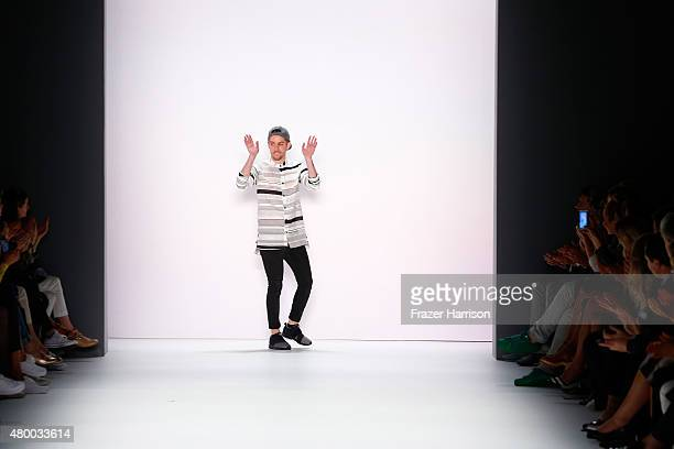 Designer Timm Suessbrich walks the runway after the Barre Noire presented by Mastercard show during the MercedesBenz Fashion Week Berlin...