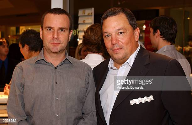 Designer Timo Kuechler poses with CEO Jochen Exner at the Knockout Preview Party hosted by Jackie Kallen and Neissing Jewelry in the new Neissing...