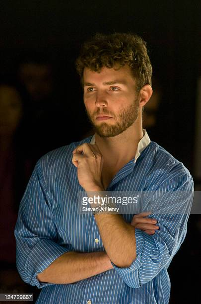 Designer Timo Weiland watches a rehearsal at the Timo Weiland Spring 2012 fashion show during Mercedes-Benz Fashion Week at The Studio at Lincoln...