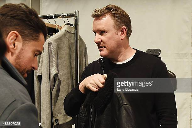 Designer Todd Snydar prepares backstage at the Todd Snyder fashion show during MercedesBenz Fashion Week Fall 2015 at The Pavilion at Lincoln Center...