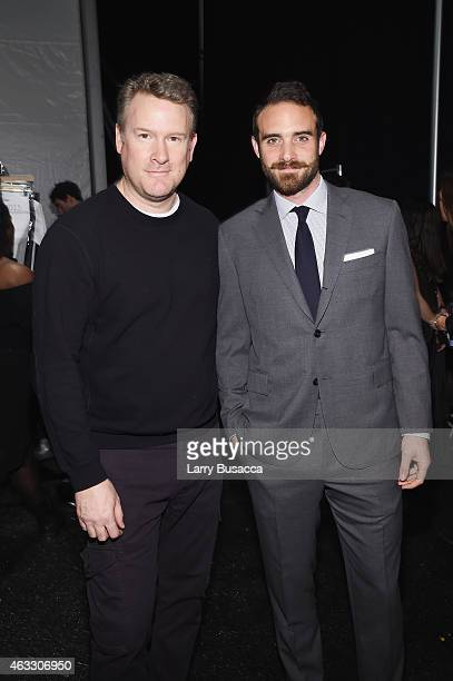 Designer Todd Snyder and actor Joshua Sasse prepare backstage before the Todd Snyder fashion show during MercedesBenz Fashion Week Fall 2015 at The...