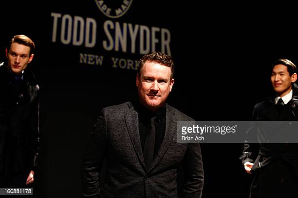 Designer Todd Snyder poses at the Todd Snyder Fall 2013 fashion presentation during MercedesBenz Fashion Week at at The Box at Lincoln Center on...