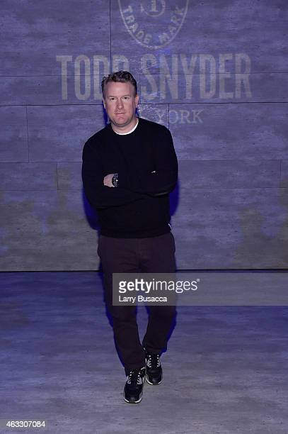 Designer Todd Snyder prepares backstage at the Todd Snyder fashion show during MercedesBenz Fashion Week Fall 2015 at The Pavilion at Lincoln Center...
