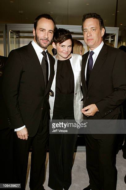 Designer Tom Ford actress Ginnifer Goodwin and actor Tom Hanks attend the TOM FORD store opening at TOM FORD Beverly Hills on February 24 2011 in...