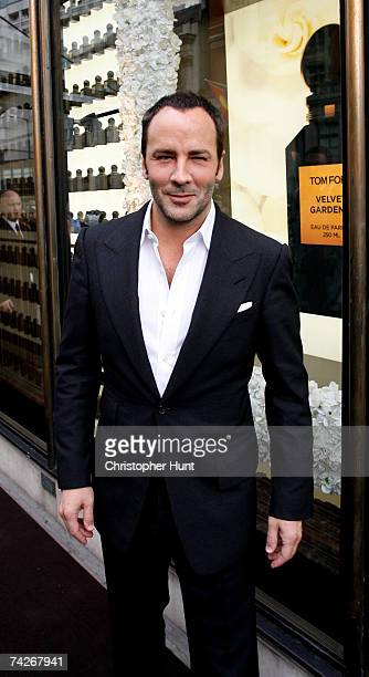 Designer Tom Ford poses outside Harvey Nichols at the launch of his new new collection of 12 unisex fragrances, at Harvey Nichols on May 24, 2007 in...