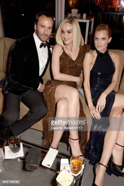 Designer Tom Ford singersongwriter Katy Perry and actor Allison Williams attend the 2017 Vanity Fair Oscar Party hosted by Graydon Carter at Wallis...