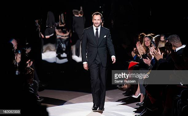 Designer Tom Ford walks the catwalk during the Tom Ford show at Lancaster House during London Fashion Week Fall/Winter 2013/14 on February 18, 2013...