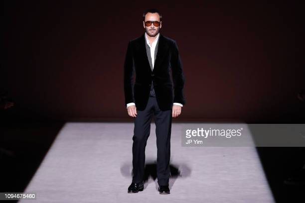Designer Tom Ford walks the runway at the conclusion of his Tom Ford Autumn/Winter 2019 Collection on February 6 2019 in New York City