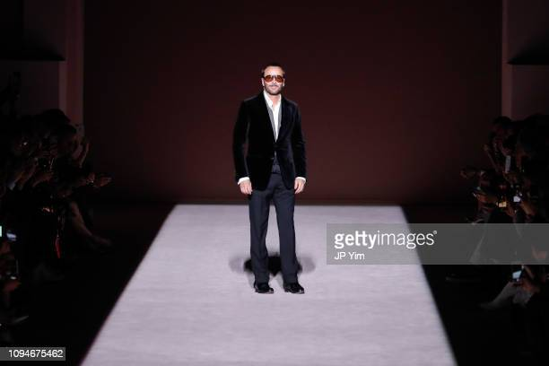 Designer Tom Ford walks the runway at the conclusion of his Tom Ford Autumn/Winter 2019 Collection on February 6, 2019 in New York City.