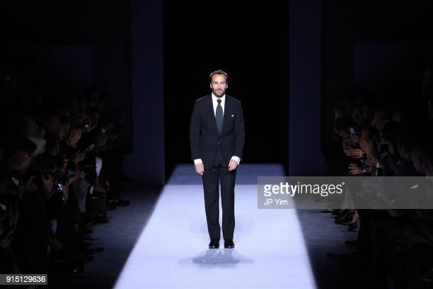Designer Tom Ford walks the runway at the conclusion of his Tom Ford FW18 Collection at Park Avenue Armory on February 6 2018 in New York City
