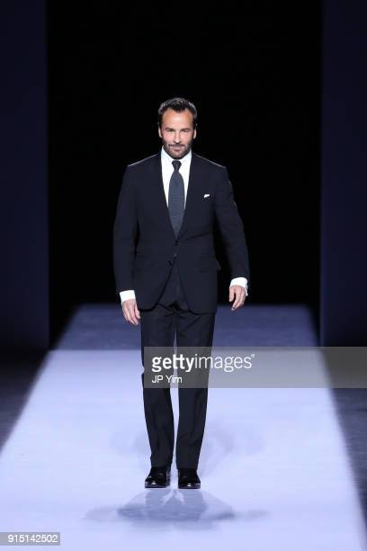 Designer Tom Ford walks the runway at the conclusion of his Tom Ford Mens FW18 Collection at Park Avenue Armory on February 6 2018 in New York City