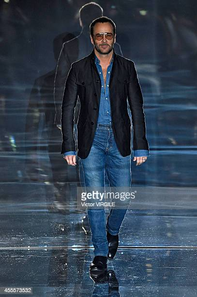 Designer Tom Ford walks the runway at the TOM FORD Ready to Wear show during London Fashion Week Spring Summer 2015 on September 15 2014 in London...