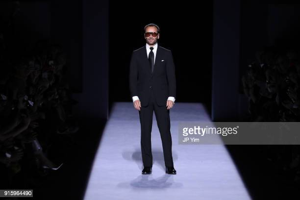 Designer Tom Ford walks the runway at the Tom Ford Womenswear FW18 Collection at Park Avenue Armory on February 8, 2018 in New York City.