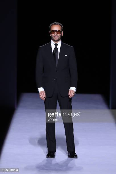 Designer Tom Ford walks the runway at the Tom Ford Womenswear FW18 Collection at Park Avenue Armory on February 8 2018 in New York City