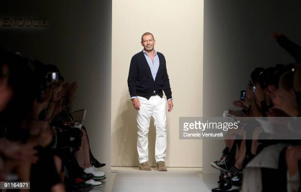 Designer Tomas Maier acknoledges the applause of the public after the Bottega Veneta show as part of Milan Womenswear Fashion Week Spring/Summer 2010...