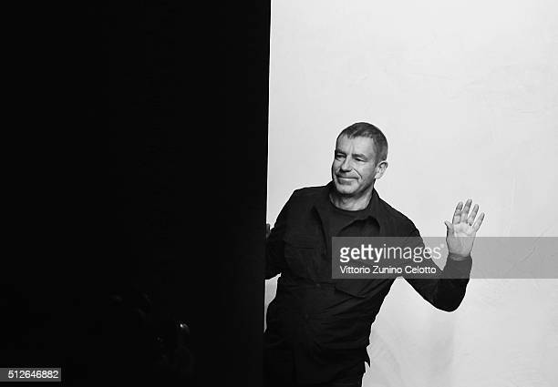 Designer Tomas Maier acknowledges the applause of the public after the Bottega Veneta show during Milan Fashion Week Fall/Winter 2016/17 on February...