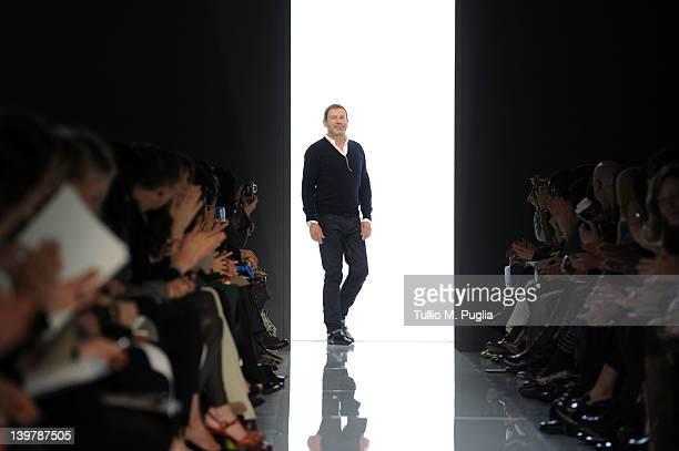 Designer Tomas Maier acknowledges the audience at the end of the Bottega Veneta Autumn/Winter 2012/2013 fashion show as part of Milan Womenswear...