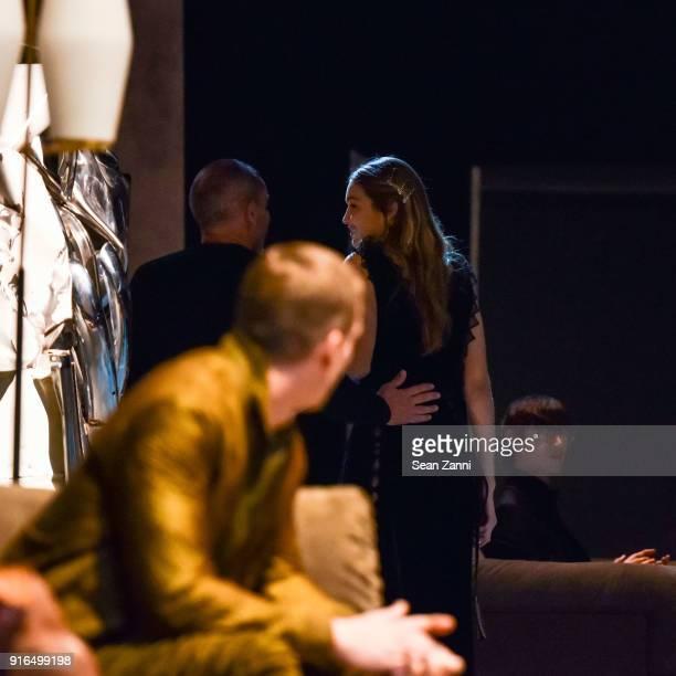 Designer Tomas Maier and model Gigi Hadid on the runway at Bottega Veneta February 2018 during New York Fashion Week at The New York Stock Exchange...
