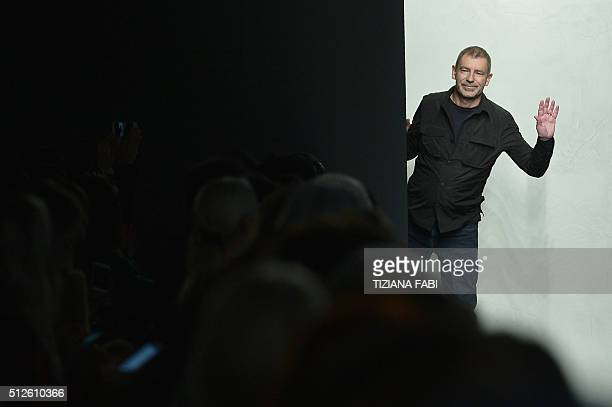 Designer Tomas Maier greets the audience at the end of the show for fashion house Bottega Veneta as part of the Women Autumn / Winter 2016 Milan...