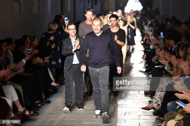Designer Tomas Maier greets the audience at the end of the show for fashion house Bottega Veneta during the 2017 Women's Spring / Summer collections...