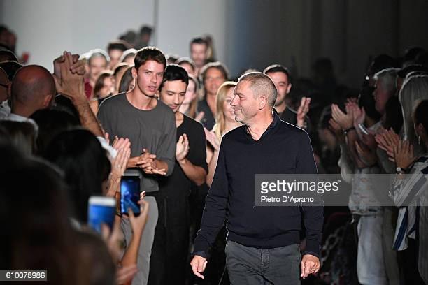 Designer Tomas Maier walks the runway at the Bottega Veneta show during Milan Fashion Week Spring/Summer 2017 on September 24 2016 in Milan Italy