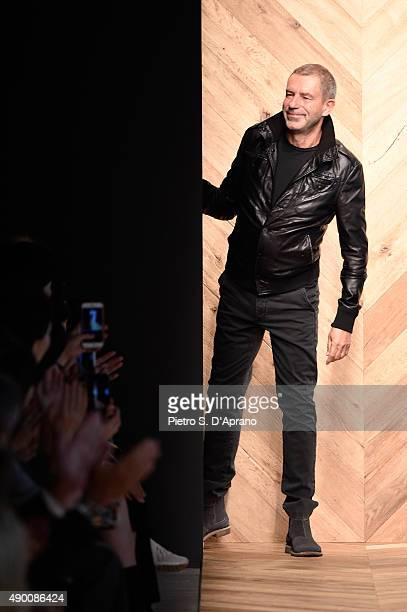 Designer Tomas Maier walks the runway during the Bottega Veneta fashion show as part of Milan Fashion Week Spring/Summer 2016 on September 26 2015 in...
