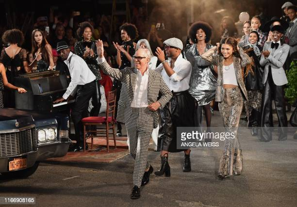 Designer Tommy Hilfiger and actress Zendaya walk the runway at the Tommy Hilfiger TommyNow fall runway show at the Apollo Theater on September 8 2019...