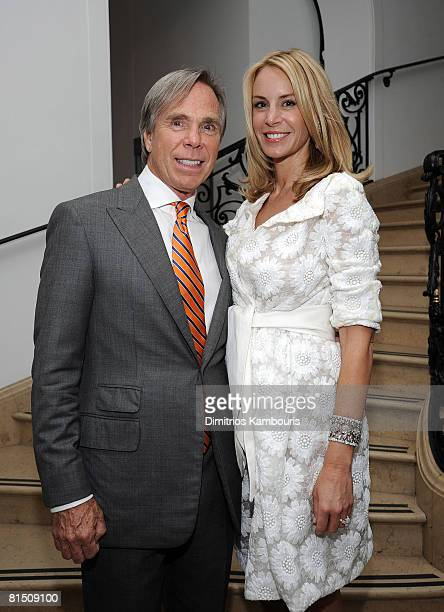 Designer Tommy Hilfiger and Dee Ocleppo pose at their engagement party hosted by Leonard and Evelyn Lauder at Neue Galerie on June 9 2008 in New York...