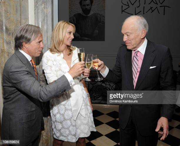 Designer Tommy Hilfiger and Dee Ocleppo with Chairman and Senior Corporate Vice President of Estee Lauder Companies Inc Leonard Lauder at their...
