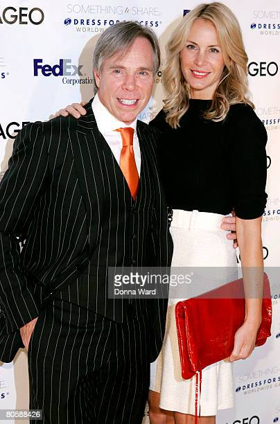 Designer Tommy Hilfiger and fiancee Dee Ocleppo pose at the Dress for Success 2008 Gala at the Marriott Marquis Hotel in Times Square on April 9 2008...