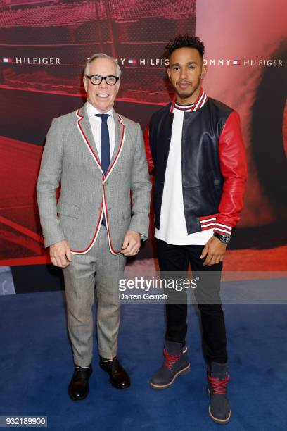 Designer Tommy Hilfiger and Formula One driver Leiws Hamilton pose together at the Tommy Hilfiger announcement Formula One World Champion Lewis...