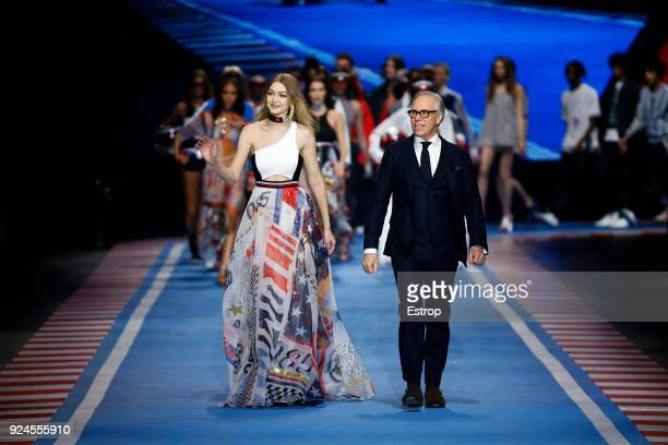 Designer Tommy Hilfiger and model Gigi Hadid at the Tommy Hilfiger show during Milan Fashion Week Fall/Winter 2018/19 on February 25 2018 in Milan...