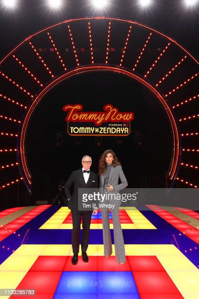 Designer Tommy Hilfiger and Zendaya pose on the runway during the Tommy Hilfiger TOMMYNOW Spring 2019 : TommyXZendaya Premieres at Theatre des...