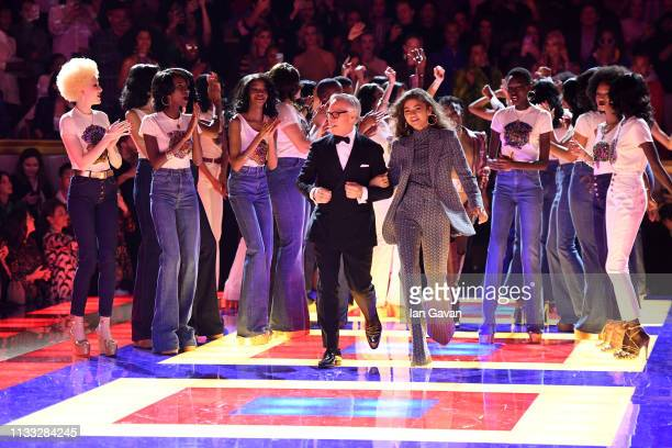 Designer Tommy Hilfiger and Zendaya walk the runway with models during the finale of the Tommy Hilfiger TOMMYNOW Spring 2019 : TommyXZendaya...