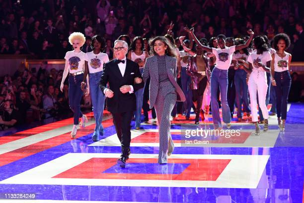 Designer Tommy Hilfiger and Zendaya walk the runway with models during the finale of the Tommy Hilfiger TOMMYNOW Spring 2019 TommyXZendaya Premieres...