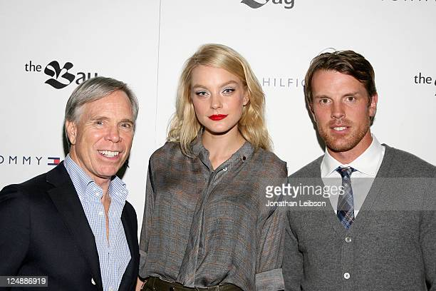 Designer Tommy Hilfiger, model Jessica Stam and hockey player Brad Richards arrive at Tommy Hilfiger Launches Menswear at The Bay at The Bay on...
