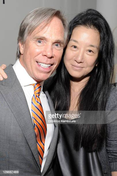 Designer Tommy Hilfiger poses with designer Vera Wang at his engagement party hosted by Leonard and Evelyn Lauder at Neue Galerie on June 9 2008 in...