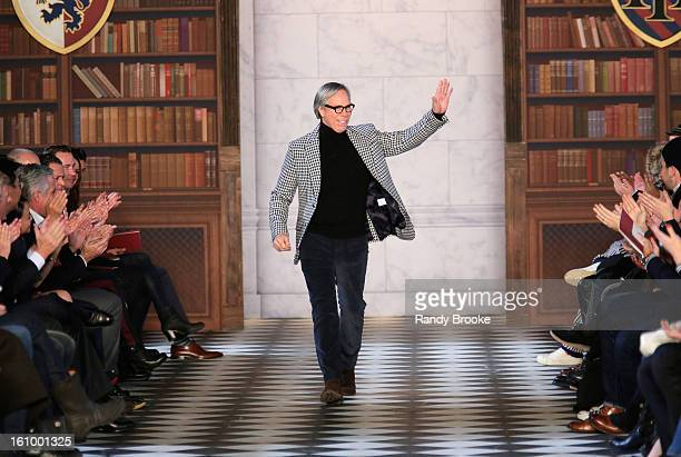Designer Tommy Hilfiger walks the runway at the Tommy Hilfiger Fall 2013 Men's Collection fashion show during MercedesBenz Fashion Week at Park...