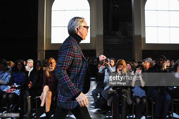 Designer Tommy Hilfiger walks the runway at the Tommy Hilfiger Fall 2013 Women's Collection fashion show during MercedesBenz Fashion Week at the Park...